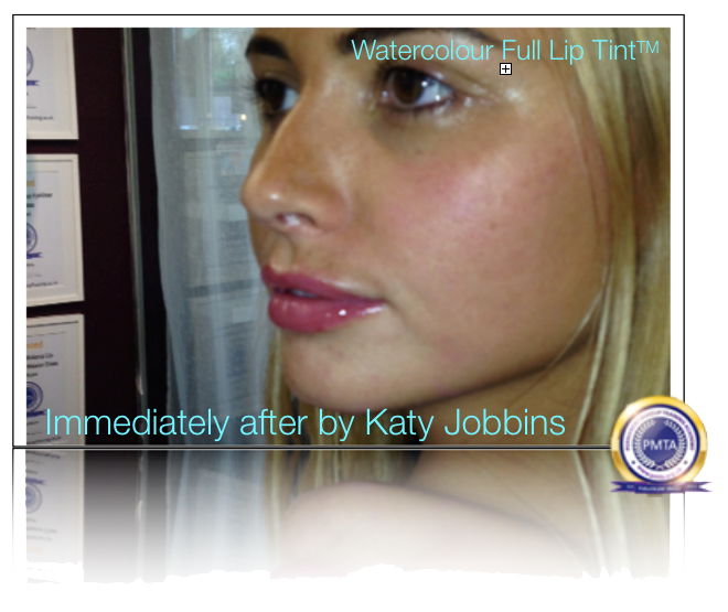 Redefine Lip Shape by Katy Jobbins using Permanent Makeup Watercolor Full Lip Tint