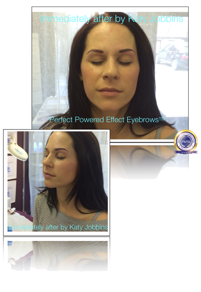 After Permanent Makeup Eyebrow Redesign Correction by Katy Jobbins Using Perfect Powdered Effect Eyebrows technique