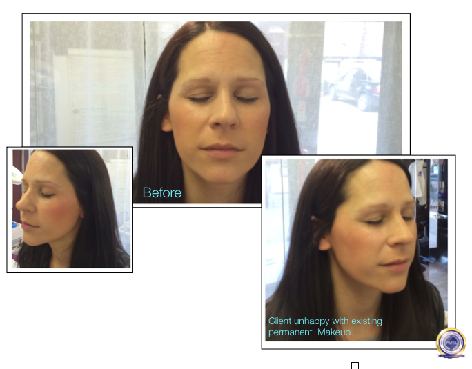 Before Permanent Makeup Eyebrow Redesign Correction by Katy Jobbins Using Perfect Powdered Effect Eyebrows technique