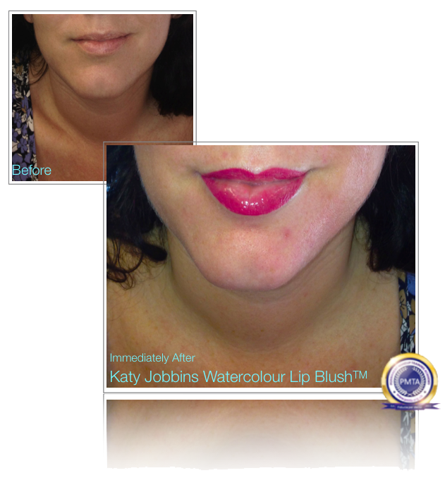Before and Immediately after Permanent Makeup Watercolour Lip Blush