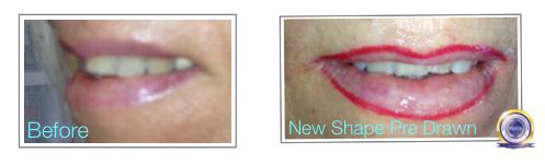 Watercolour Lip Blush Before and Pre Drawn