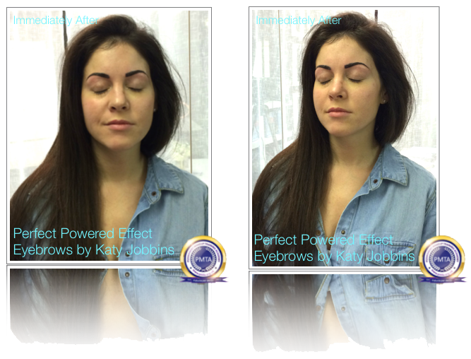 Front View Immediately After Permanent Makeup Perfect Powdered Effect Eyebrows