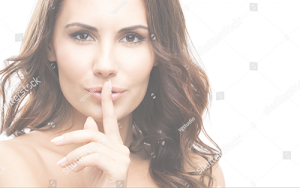Woman hiding cleft lip
